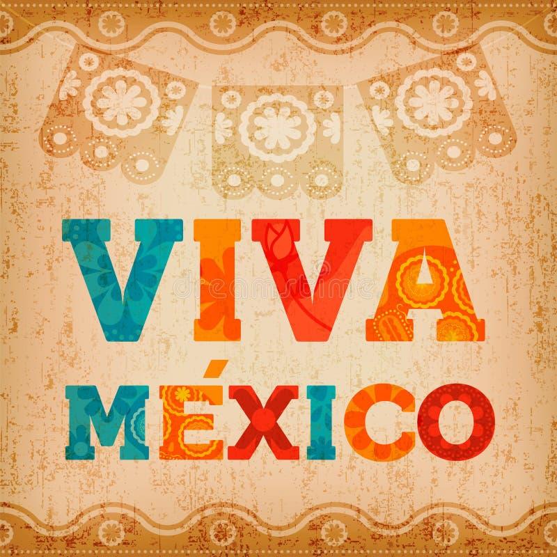 Ευχετήρια κάρτα αποσπάσματος του Μεξικού Viva για το γεγονός διακοπών απεικόνιση αποθεμάτων