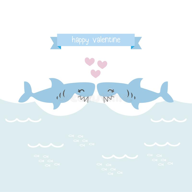 Ευχετήρια κάρτα βαλεντίνων Χαριτωμένοι καρχαρίες με την καρδιά απεικόνιση αποθεμάτων