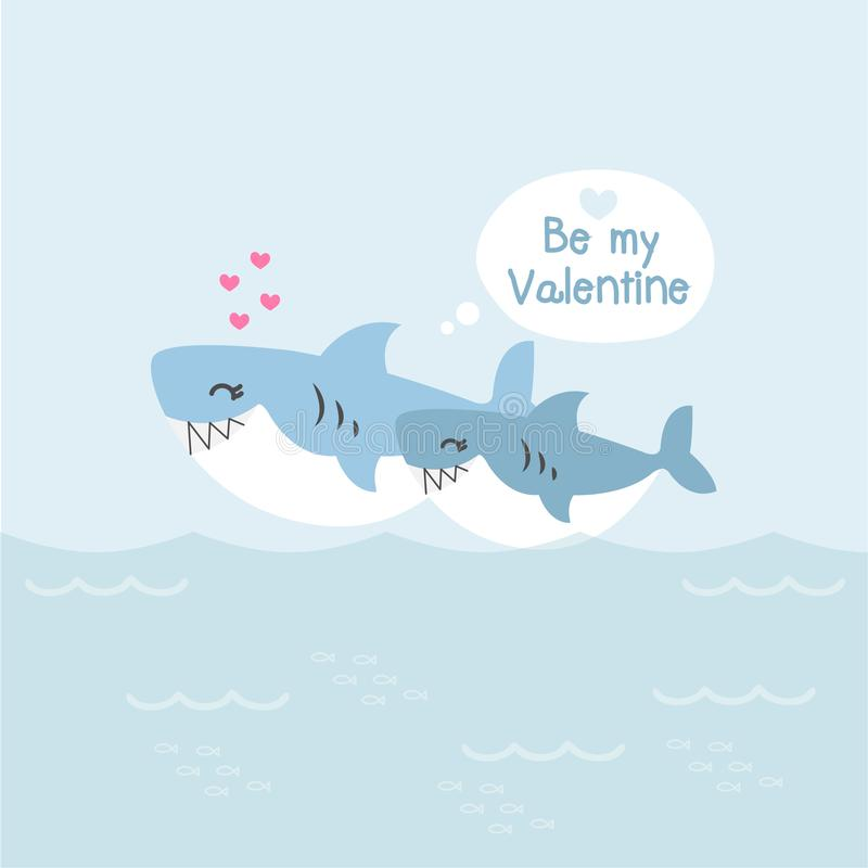 Ευχετήρια κάρτα βαλεντίνων Χαριτωμένοι καρχαρίες με την καρδιά ελεύθερη απεικόνιση δικαιώματος