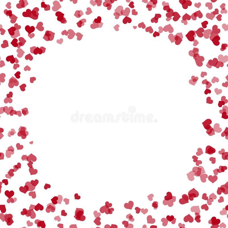 Ευχετήρια κάρτα βαλεντίνων ` s με τις πετώντας κόκκινες καρδιές και θέση για το κείμενο διάνυσμα ελεύθερη απεικόνιση δικαιώματος