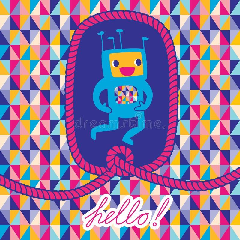 Ευχετήρια κάρτα γειά σου με το πλαίσιο ρομπότ και σχοινιών διανυσματική απεικόνιση