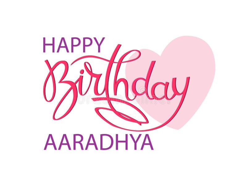 Ευχετήρια κάρτα γενεθλίων με το ινδικό όνομα Aaradhya Κομψή εγγραφή χεριών και μια μεγάλη ρόδινη καρδιά Απομονωμένο στοιχείο σχεδ απεικόνιση αποθεμάτων