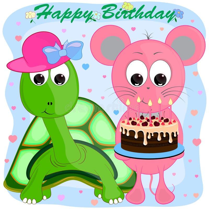 Ευχετήρια κάρτα γενεθλίων με το ποντίκι και τη χελώνα διανυσματική απεικόνιση κινούμενων σχεδίων διανυσματική απεικόνιση