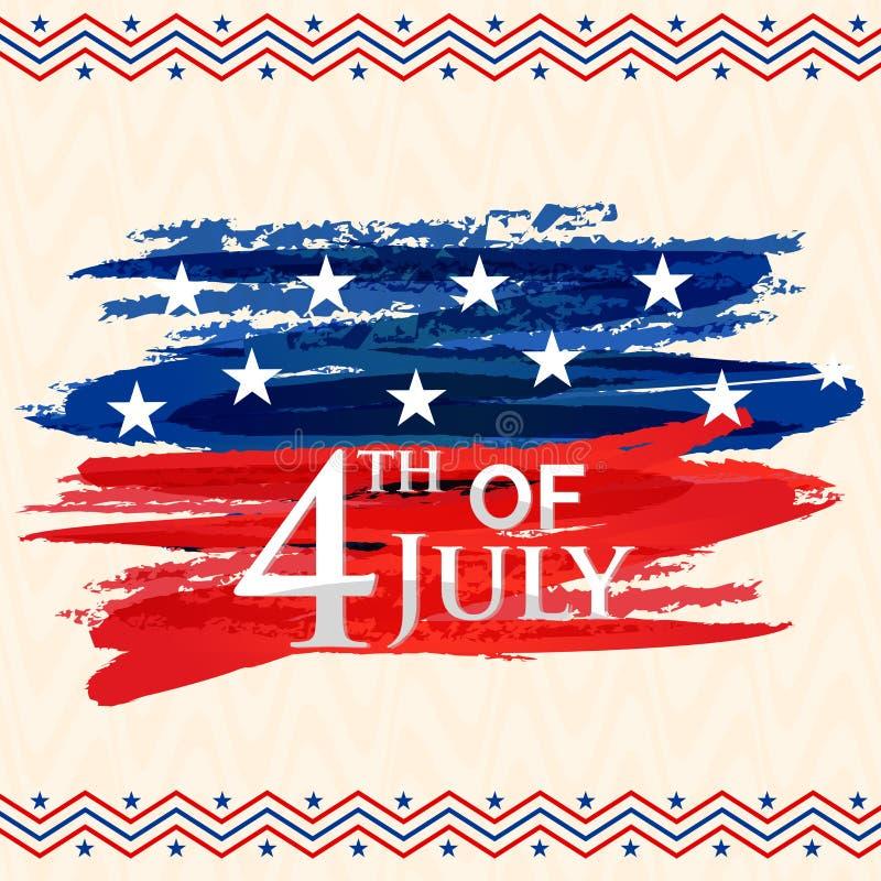 Ευχετήρια κάρτα για 4ο του εορτασμού Ιουλίου διανυσματική απεικόνιση