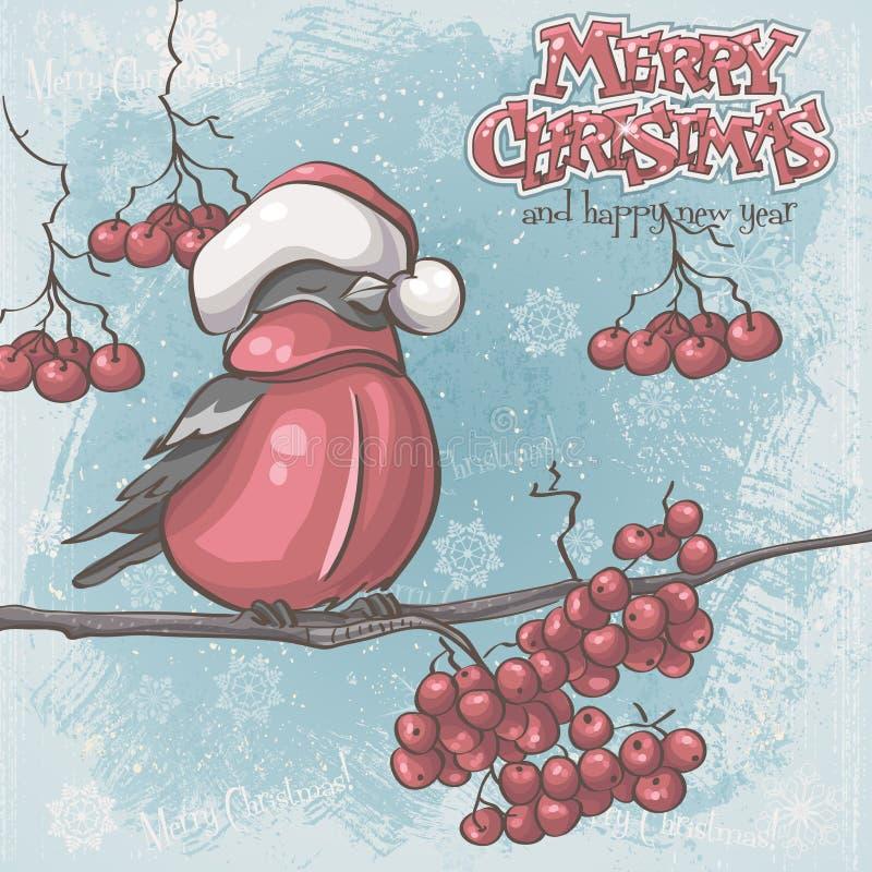 Ευχετήρια κάρτα για τα Χριστούγεννα και το νέο έτος που απεικονίζουν bullfinches το ο απεικόνιση αποθεμάτων