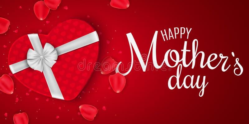 Ευχετήρια κάρτα για την ημέρα μητέρων Κόκκινο κιβώτιο δώρων της καρδιάς με το τόξο Κόκκινη ανασκόπηση Αυξήθηκε πέταλα και κομφετί απεικόνιση αποθεμάτων