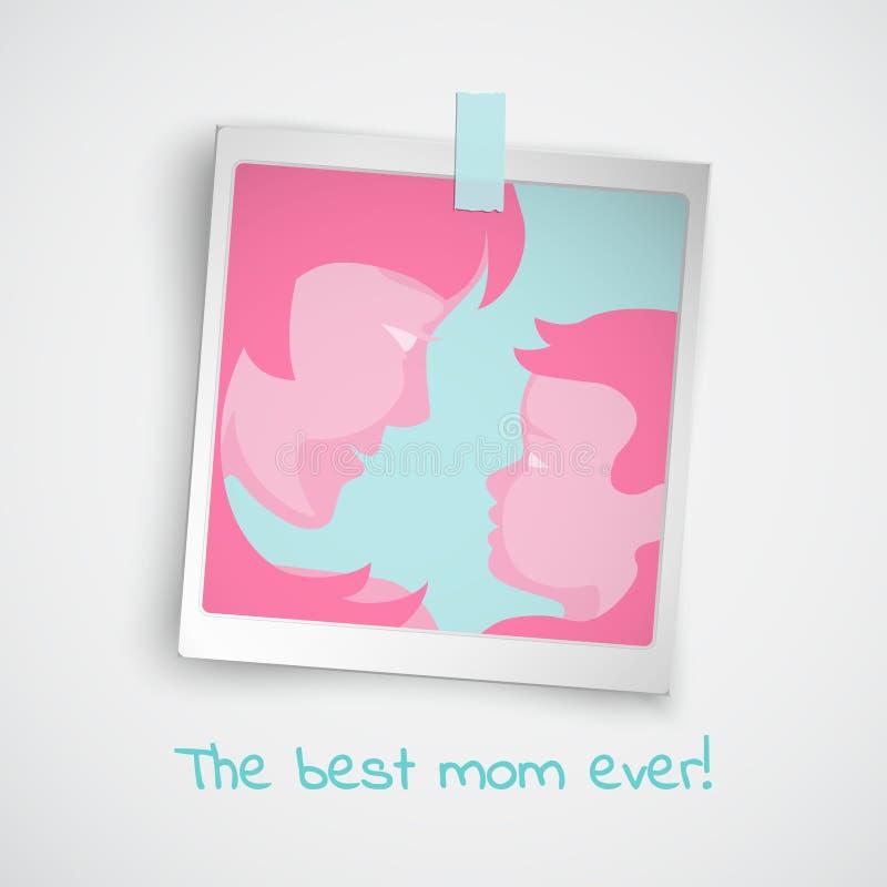 Ευχετήρια κάρτα για την ημέρα μητέρων ` s με τις ρόδινες σκιαγραφίες γυναικών και μωρών στο πλαίσιο φωτογραφιών και το κείμενο on διανυσματική απεικόνιση