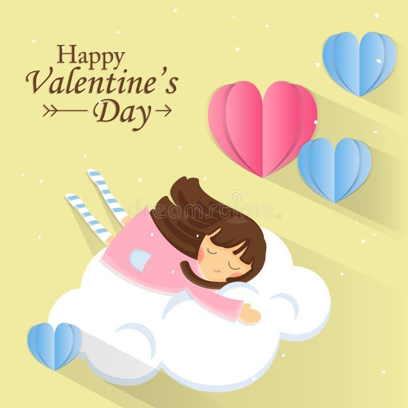 Ευχετήρια κάρτα για την ημέρα του βαλεντίνου Γλυκό κορίτσι στο σύννεφο με την καρδιά εγγράφου στο υπόβαθρο κρητιδογραφιών διανυσματική απεικόνιση
