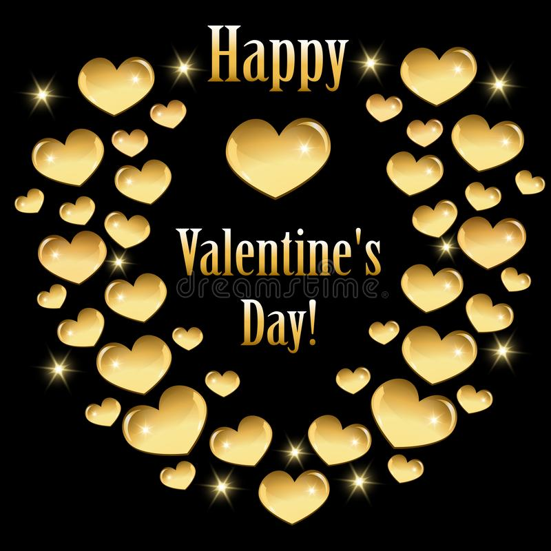 Ευχετήρια κάρτα για την ημέρα του βαλεντίνου με τις χρυσές καρδιές διανυσματική απεικόνιση