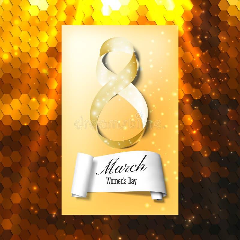 Ευχετήρια κάρτα για την 8η Μαρτίου με το έμβλημα και το σύμβολο της χρυσής κορδέλλας Ημέρα των διεθνών γυναικών Polygonal διανυσμ διανυσματική απεικόνιση