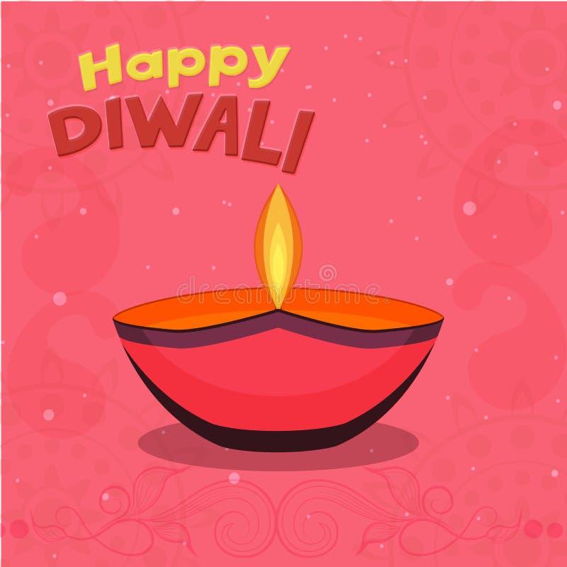 Ευχετήρια κάρτα για τον ευτυχή εορτασμό Diwali διανυσματική απεικόνιση