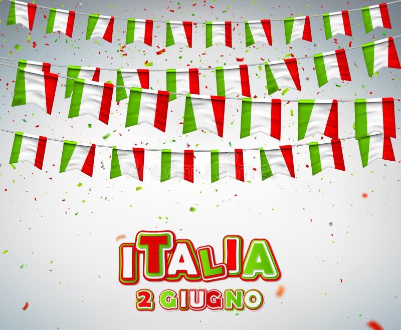 Ευχετήρια κάρτα για τον ιταλικό εθνικό εορτασμό 2 Ιουνίου, της διακοπέςης της Ιταλικής Δημοκρατίας Ζωηρόχρωμες σημαίες της Ιταλία ελεύθερη απεικόνιση δικαιώματος