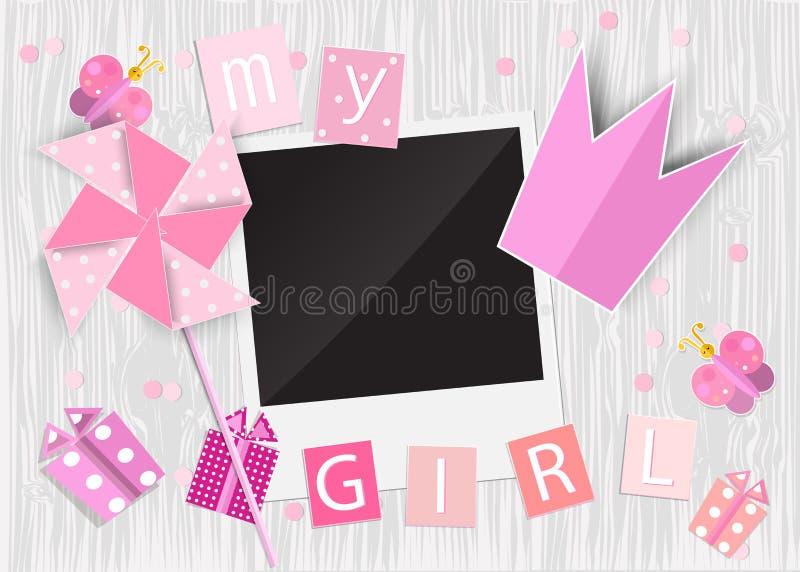 Ευχετήρια κάρτα για το κορίτσι πριγκηπισσών Pinwheel, κορώνα, κιβώτιο δώρων, phot ελεύθερη απεικόνιση δικαιώματος