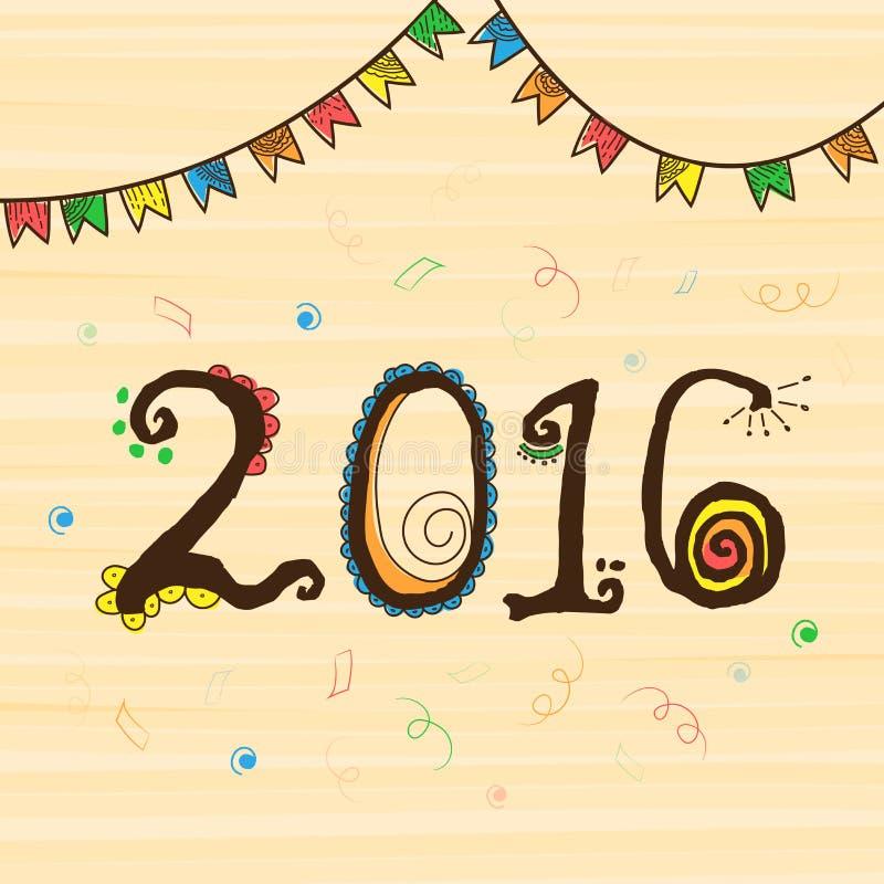 Ευχετήρια κάρτα για το νέο εορτασμό έτους 2016 ελεύθερη απεικόνιση δικαιώματος