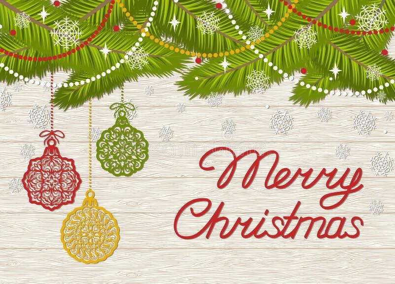 Ευχετήρια κάρτα διακοπών με τη Χαρούμενα Χριστούγεννα κειμένων ελεύθερη απεικόνιση δικαιώματος