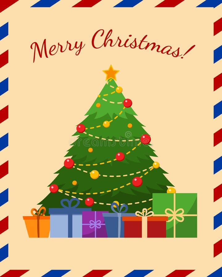 Ευχετήρια κάρτα διακοπών με το χριστουγεννιάτικο δέντρο, επίπεδη διανυσματική απεικόνιση απεικόνιση αποθεμάτων