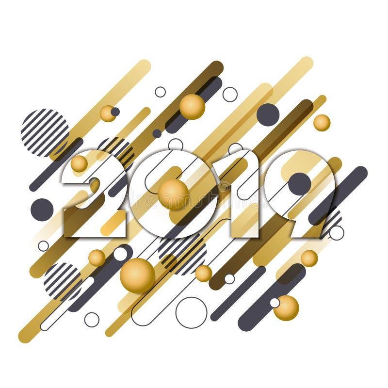 Ευχετήρια κάρτα εγγράφου καλής χρονιάς 2019 διανυσματική Χρυσοί αριθμοί με τις γεωμετρικές μορφές κινήσεων που απομονώνονται στο  απεικόνιση αποθεμάτων
