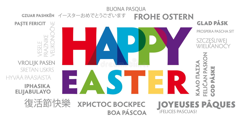 Ευχετήρια κάρτα ευτυχές Πάσχα πολύγλωσσο με τις ζωηρόχρωμες επιστολές διανυσματική απεικόνιση