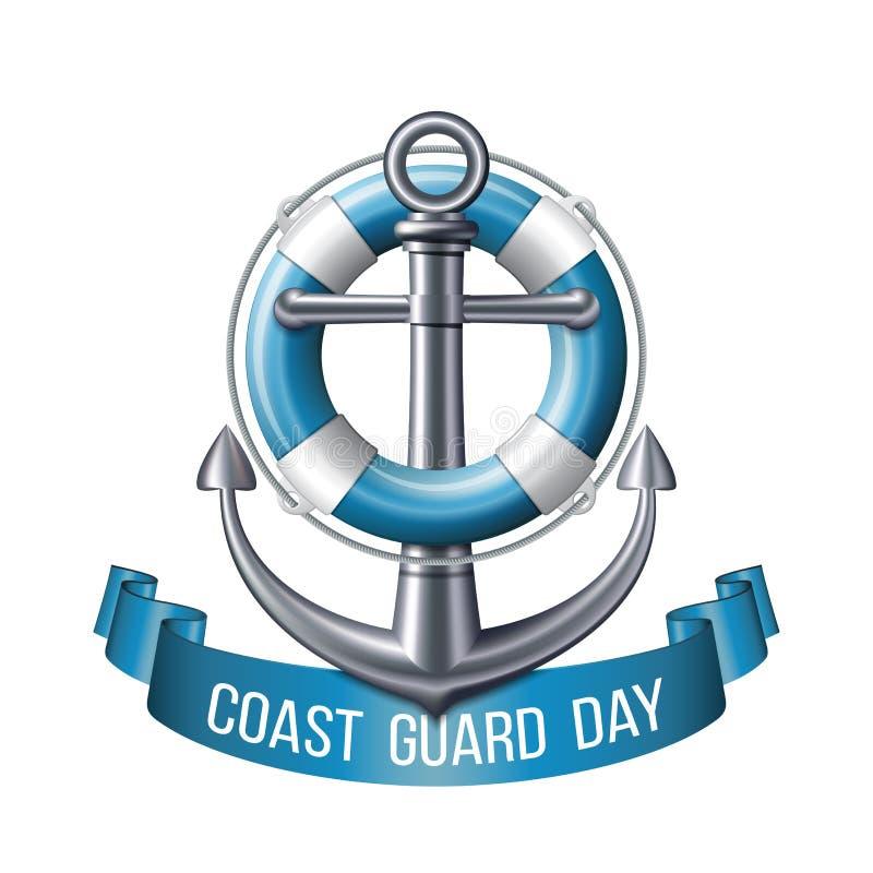Ευχετήρια κάρτα ημέρας ακτοφυλακής Ναυτικό έμβλημα απεικόνιση αποθεμάτων