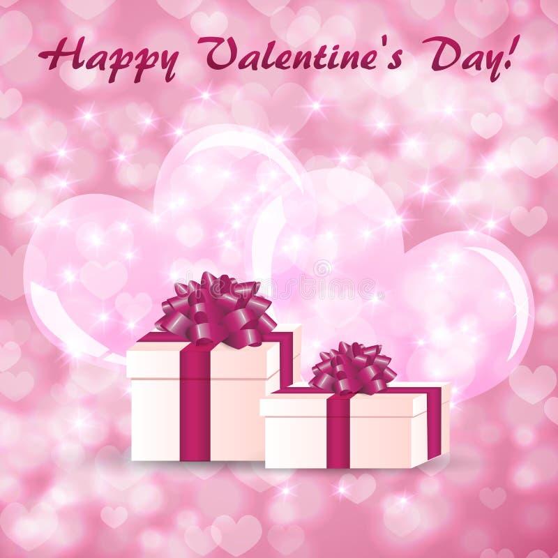Ευχετήρια κάρτα ημέρας βαλεντίνου με τα κιβώτια δώρων στο υπόβαθρο των μεγάλων καρδιών απεικόνιση αποθεμάτων