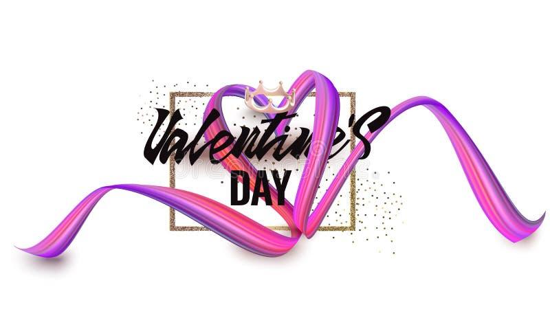 Ευχετήρια κάρτα ημέρας βαλεντίνου με την κορδέλλα στη μορφή της καρδιάς και του χρυσού λαμπιρίζοντας πλαισίου διανυσματική απεικόνιση