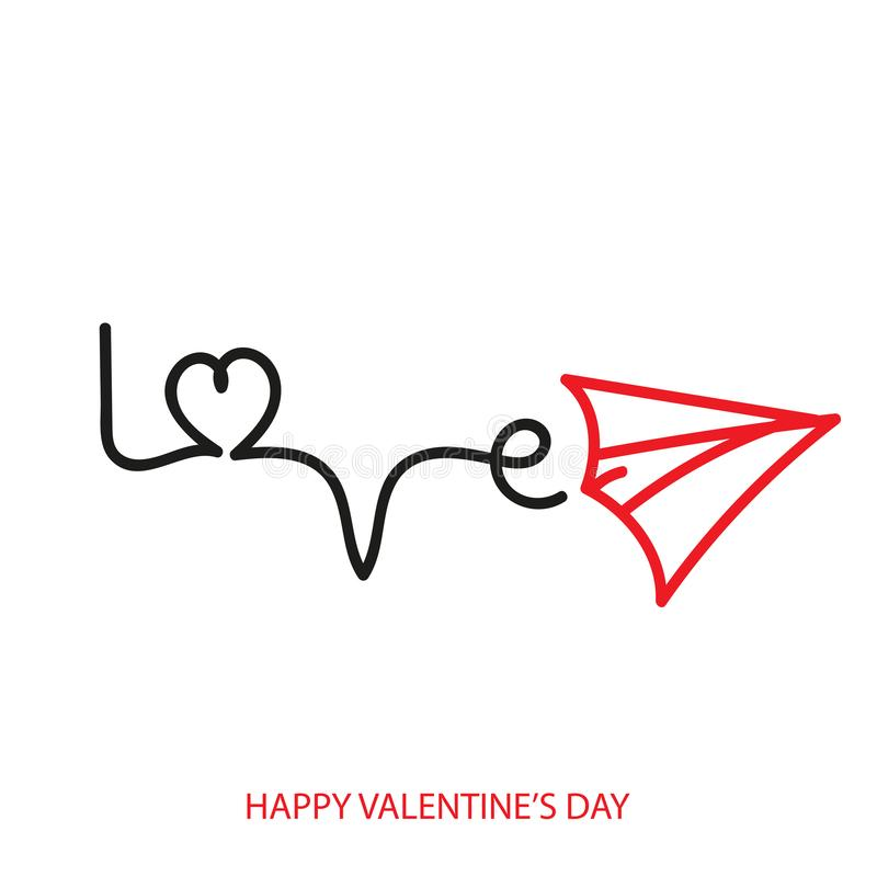 Ευχετήρια κάρτα ημέρας βαλεντίνου με το αεροπλάνο και την καρδιά διάνυσμα απεικόνιση αποθεμάτων