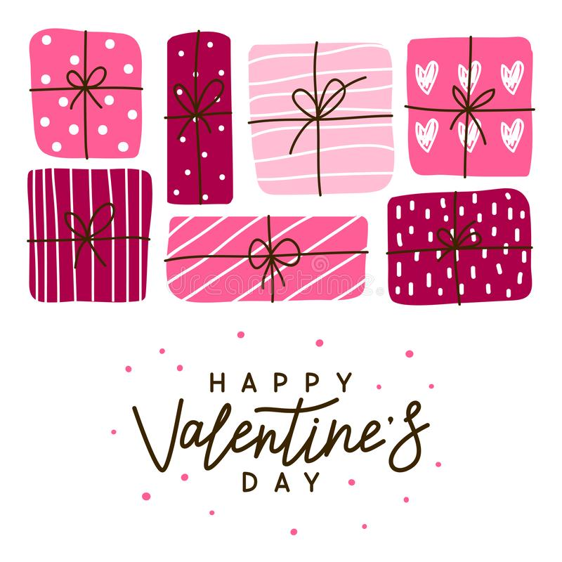 Ευχετήρια κάρτα ημέρας βαλεντίνων με τα δώρα διανυσματική απεικόνιση