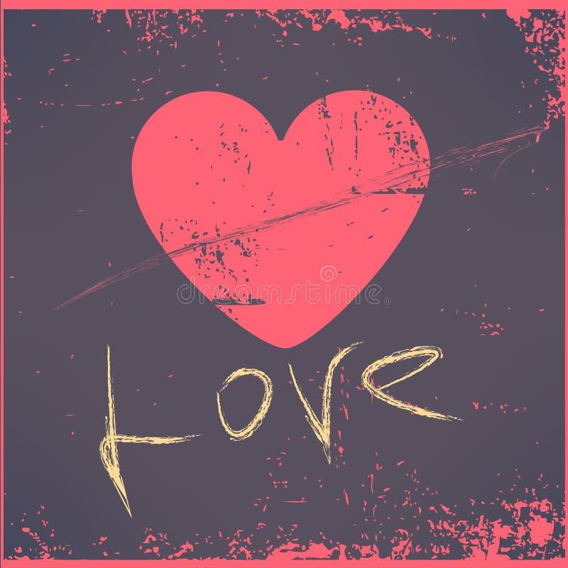 Ευχετήρια κάρτα ημέρας βαλεντίνων καρδιών αγάπης αναδρομική διανυσματική απεικόνιση