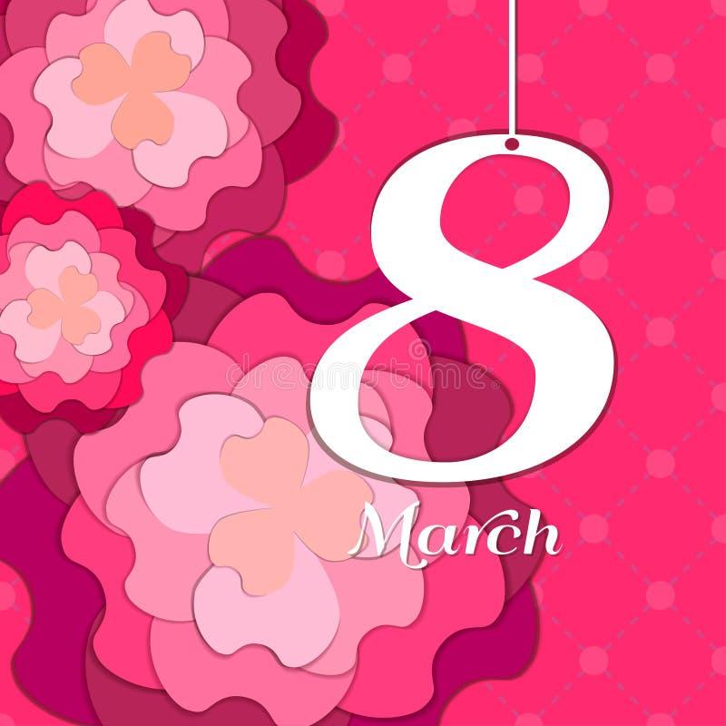 Ευχετήρια κάρτα ημέρας γυναικών ` s με τα λουλούδια εγγράφου Floral κάρτα ή στοκ φωτογραφία