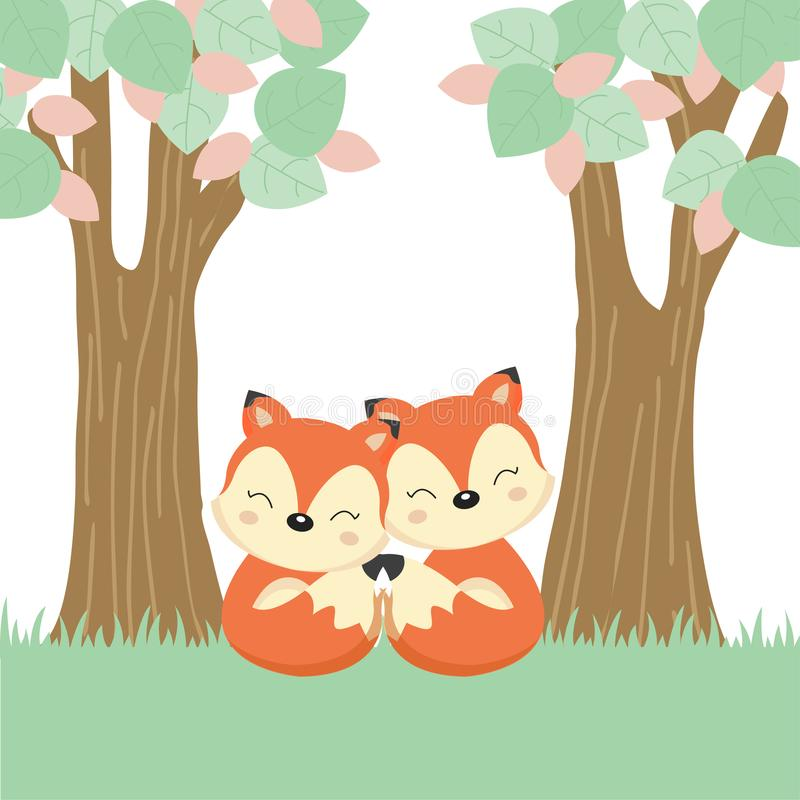 Ευχετήρια κάρτα ημέρας μητέρας με λίγες αλεπού και μητέρα στο ξύλινο κούτσουρο διανυσματική απεικόνιση