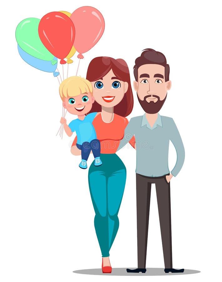 Ευχετήρια κάρτα ημέρας μητέρων ` s οικογενειακά καρύδια έννοιας σύνθεσης μπουλονιών Όμορφος πατέρας και όμορφος γιος εκμετάλλευση απεικόνιση αποθεμάτων
