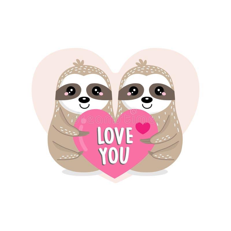 Ευχετήρια κάρτα ημέρας του ευτυχούς βαλεντίνου με τη νωθρότητα και την καρδιά ζευγών ελεύθερη απεικόνιση δικαιώματος