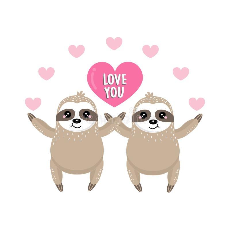 Ευχετήρια κάρτα ημέρας του ευτυχούς βαλεντίνου με τη νωθρότητα και την καρδιά ζευγών απεικόνιση αποθεμάτων