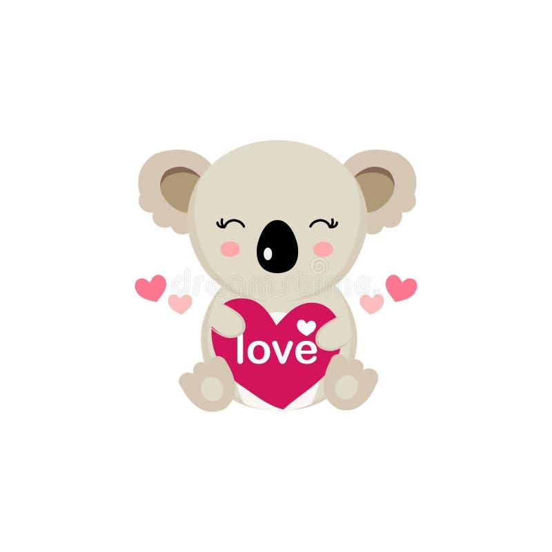 Ευχετήρια κάρτα ημέρας του ευτυχούς βαλεντίνου με τη χαριτωμένη μεγάλη καρδιά λαβής koala ελεύθερη απεικόνιση δικαιώματος