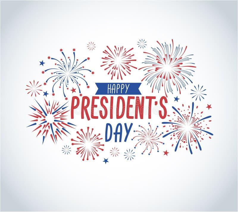 Ευχετήρια κάρτα ημέρας του ευτυχούς Προέδρου με τα πυροτεχνήματα Κάρτα ΑΜΕΡΙΚΑΝΙΚΗΣ εθνικής εορτής greetind Διανυσματικό illustra διανυσματική απεικόνιση