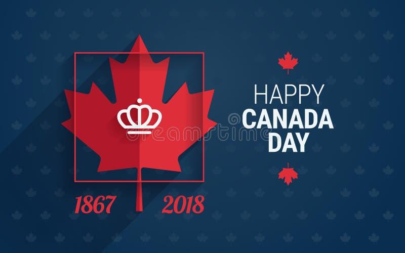 Ευχετήρια κάρτα ημέρας του Καναδά - ευτυχή κείμενο και φύλλο σφενδάμου ημέρας του Καναδά ελεύθερη απεικόνιση δικαιώματος