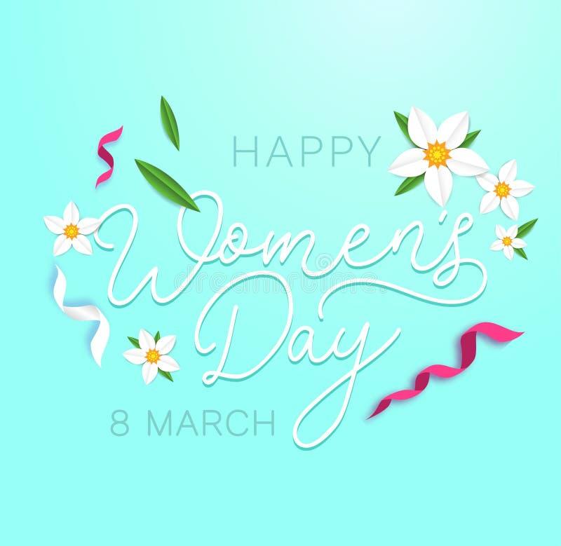 Ευχετήρια κάρτα ημέρας των ευτυχών γυναικών με τα λουλούδια, τις κορδέλλες και το χαριτωμένο υπόβαθρο Ευχετήρια κάρτα ημέρας των  ελεύθερη απεικόνιση δικαιώματος
