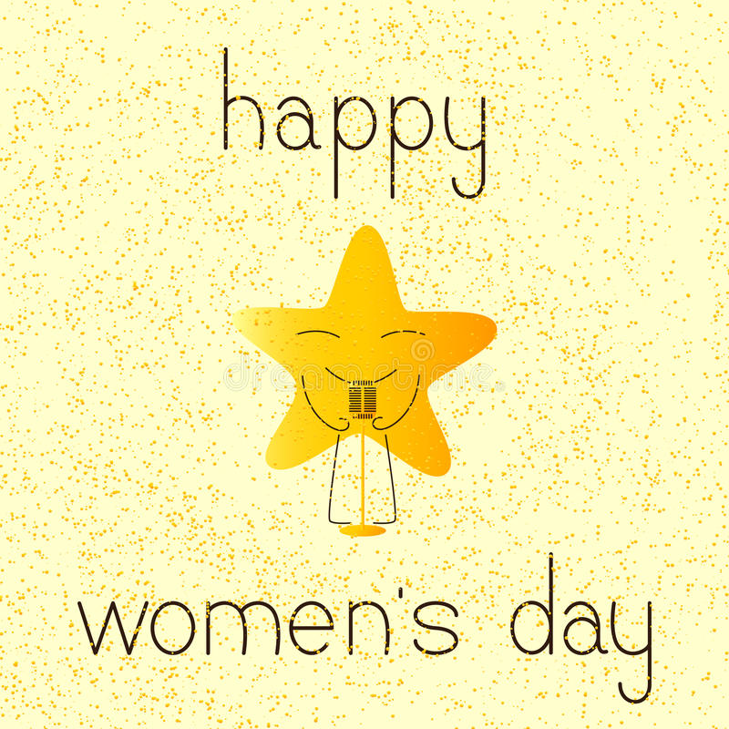 Ευχετήρια κάρτα ημέρας των ευτυχών γυναικών με το μουσικό αστέρι απεικόνιση αποθεμάτων