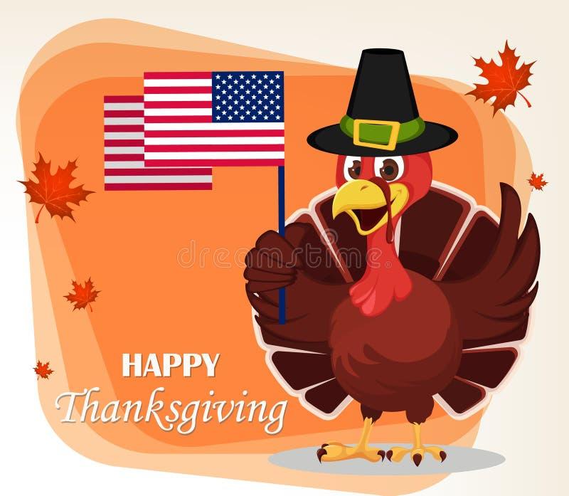 Ευχετήρια κάρτα ημέρας των ευχαριστιών με ένα πουλί της Τουρκίας που φορά έναν προσκυνητή απεικόνιση αποθεμάτων