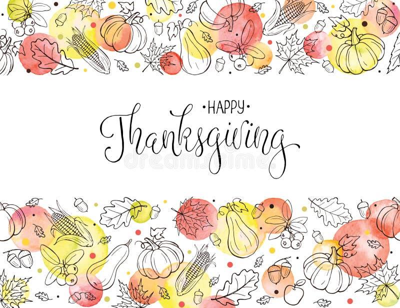 Ευχετήρια κάρτα ημέρας των ευχαριστιών ελεύθερη απεικόνιση δικαιώματος