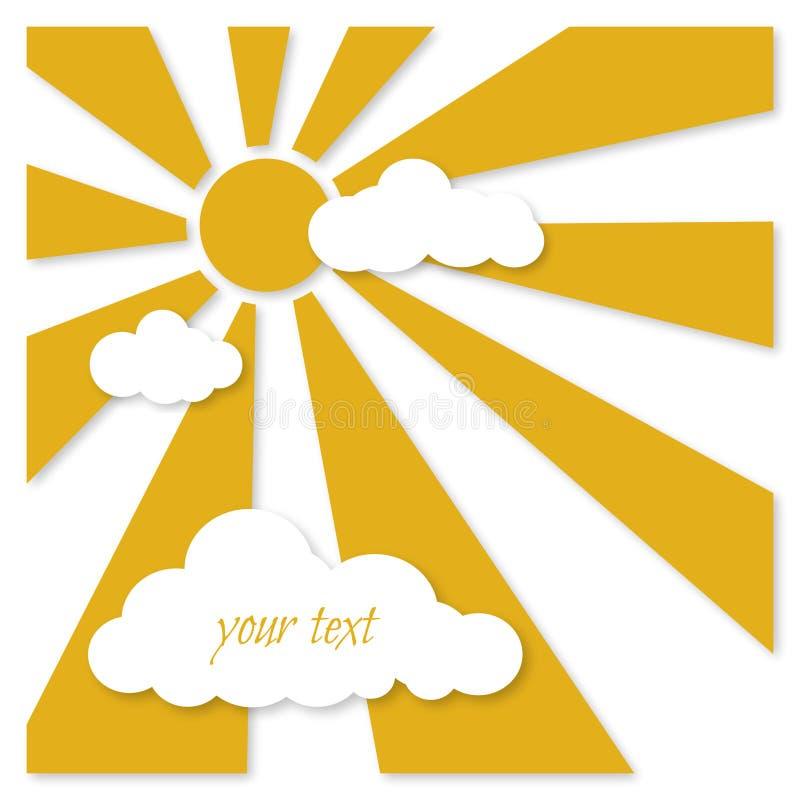 Ευχετήρια κάρτα - κίτρινος ήλιος με τα σύννεφα διανυσματική απεικόνιση