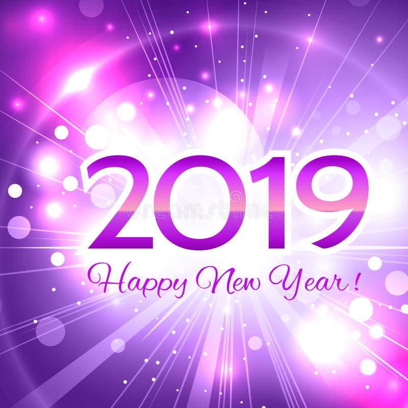 ευχετήρια κάρτα καλής χρονιάς αριθμού του 2019 ρόδινη ελεύθερη απεικόνιση δικαιώματος