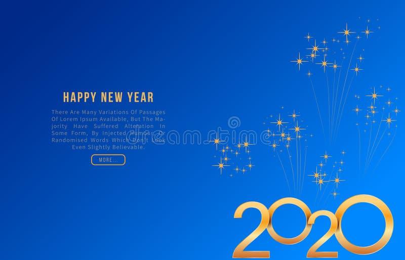 2020 ευχετήρια κάρτα καλής χρονιάς με τους λαμπρούς χρυσούς αριθμούς στο μπλε υπόβαθρο με τα πυροτεχνήματα Σύγχρονο σχέδιο προτύπ διανυσματική απεικόνιση