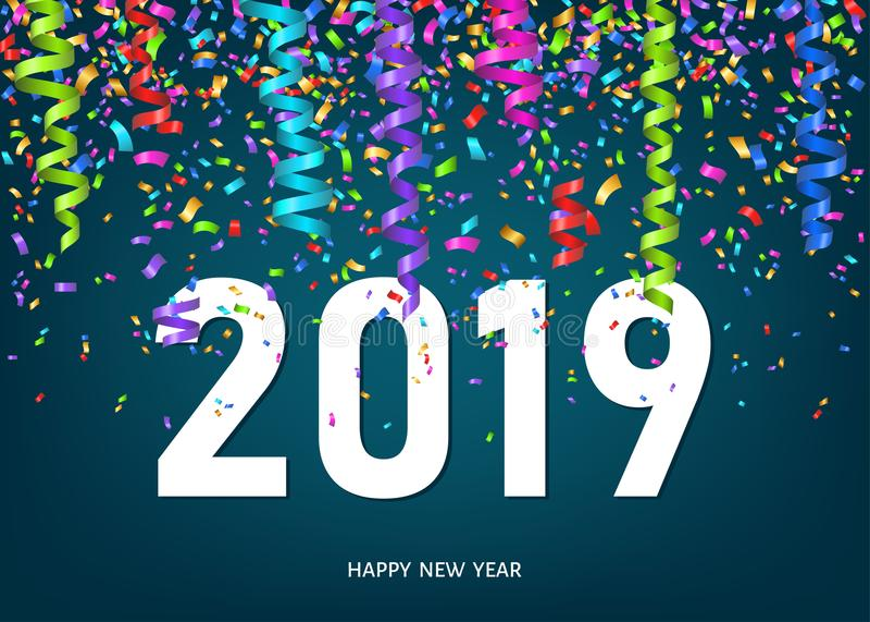 2019 ευχετήρια κάρτα καλής χρονιάς με το κομφετί και τις κορδέλλες απεικόνιση αποθεμάτων