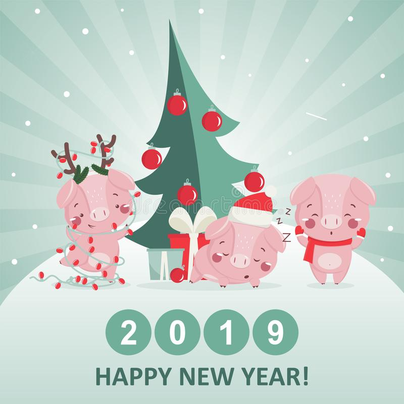 Ευχετήρια κάρτα καλής χρονιάς με το χαριτωμένο χοίρο ελεύθερη απεικόνιση δικαιώματος