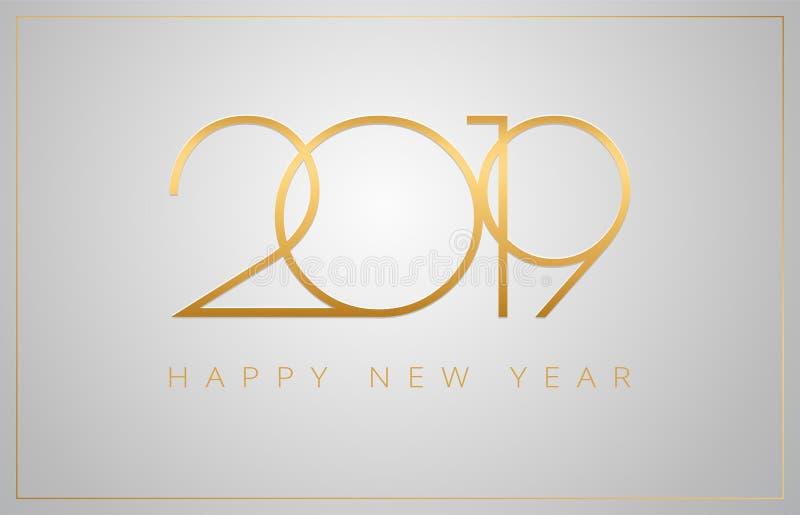 2019 ευχετήρια κάρτα καλής χρονιάς - χρυσοί αριθμοί σε ένα ασημένιο β απεικόνιση αποθεμάτων