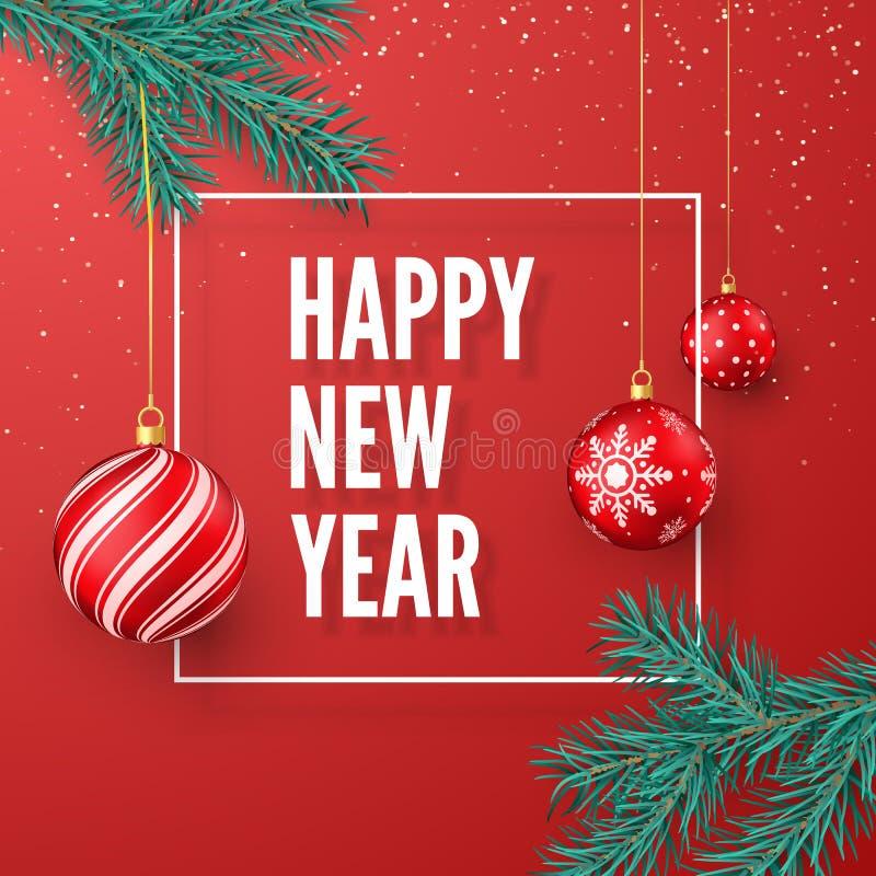 Ευχετήρια κάρτα καλής χρονιάς E διανυσματική απεικόνιση