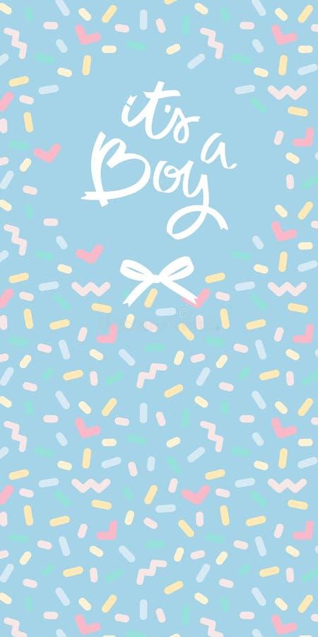 Ευχετήρια κάρτα καλλιγραφίας, του ένα αγόρι ντους μωρών ή γράφοντας κάρτα γέννησης μωρών Εκλεκτής ποιότητας σχέδιο κρητιδογραφιών απεικόνιση αποθεμάτων