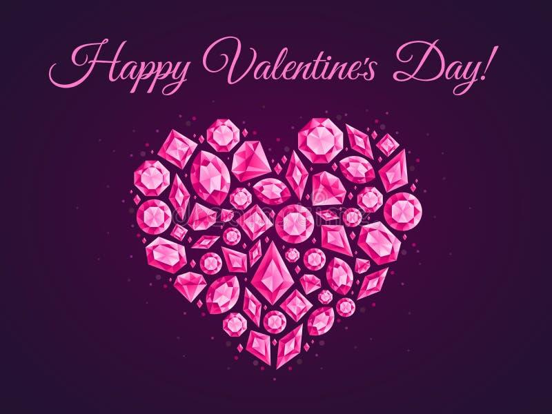 Ευχετήρια κάρτα καρδιών αγάπης κοσμήματος Αφίσα διαμαντιών κοσμημάτων, ιπτάμενο κρυστάλλου κοσμημάτων ή διανυσματικό υπόβαθρο καρ ελεύθερη απεικόνιση δικαιώματος