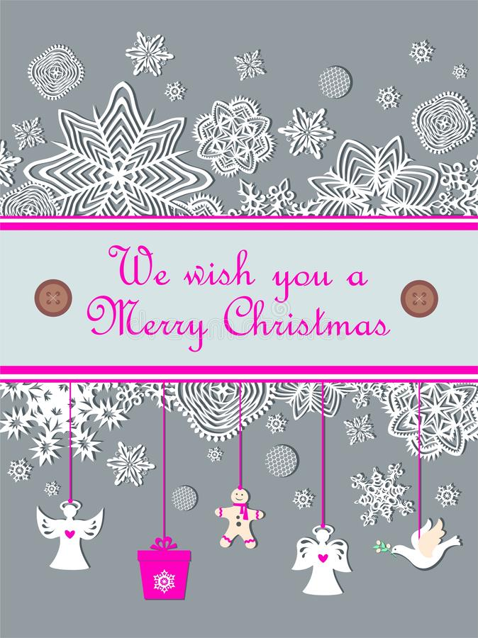 Ευχετήρια κάρτα κρητιδογραφιών Χριστουγέννων με τους εποχιακούς χαιρετισμούς με την κοπή εγγράφου που κρεμά τους μικρούς άσπρους  ελεύθερη απεικόνιση δικαιώματος
